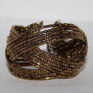 "Gold beaded cuff wire bracelet 7"""